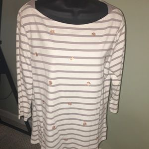A New Day Beige & Taupe Striped Top